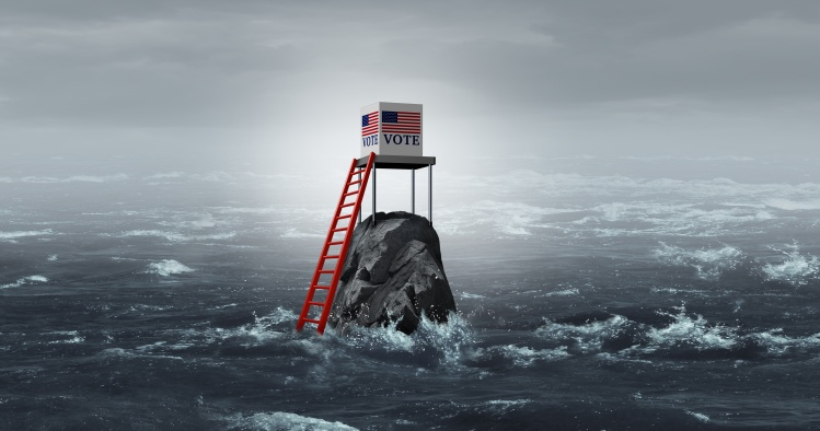 Illustration of ballot box isolated in stormy ocean.